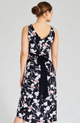 summer dress in floral print in white and blue