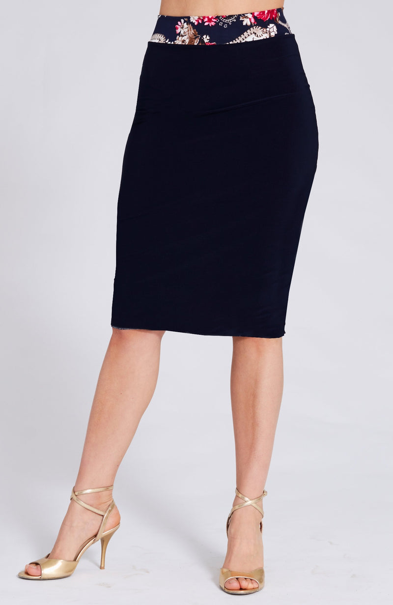 argentine tango skirt with slit in navy blue print