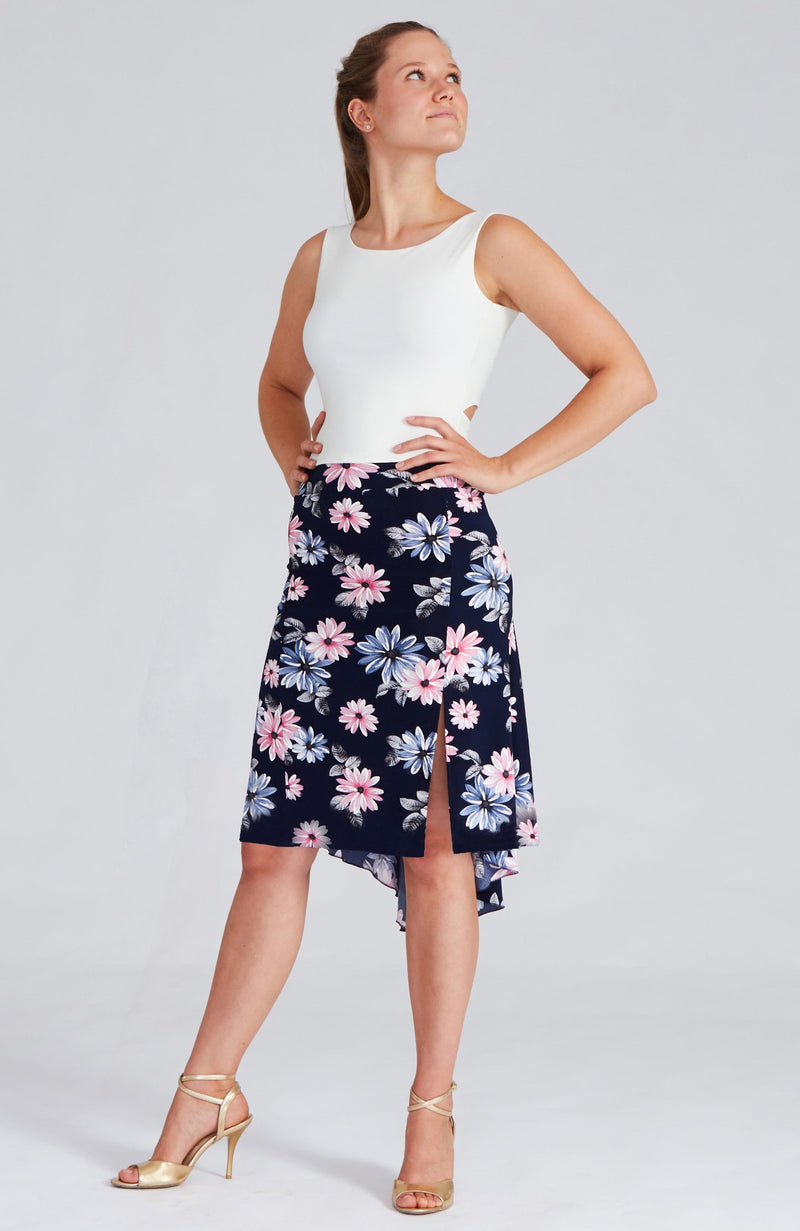 Argentine tango skirt with side slit in white daisy print