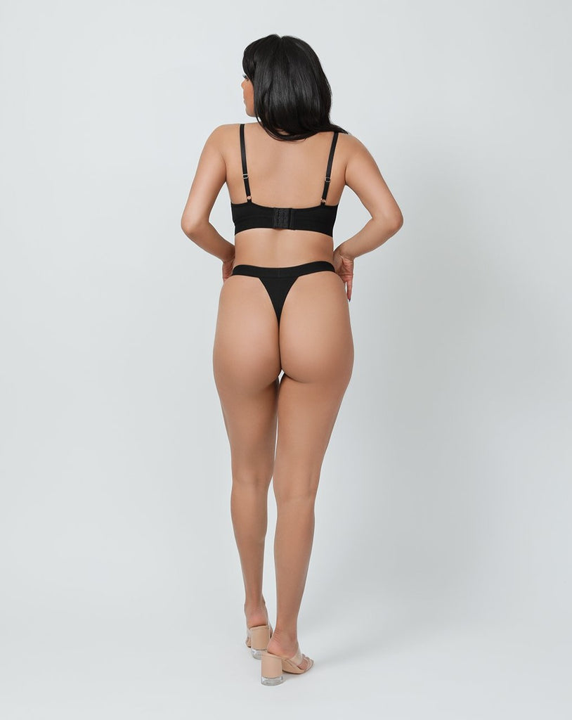 HIGH LEG THONG- BLACK CAVIAR