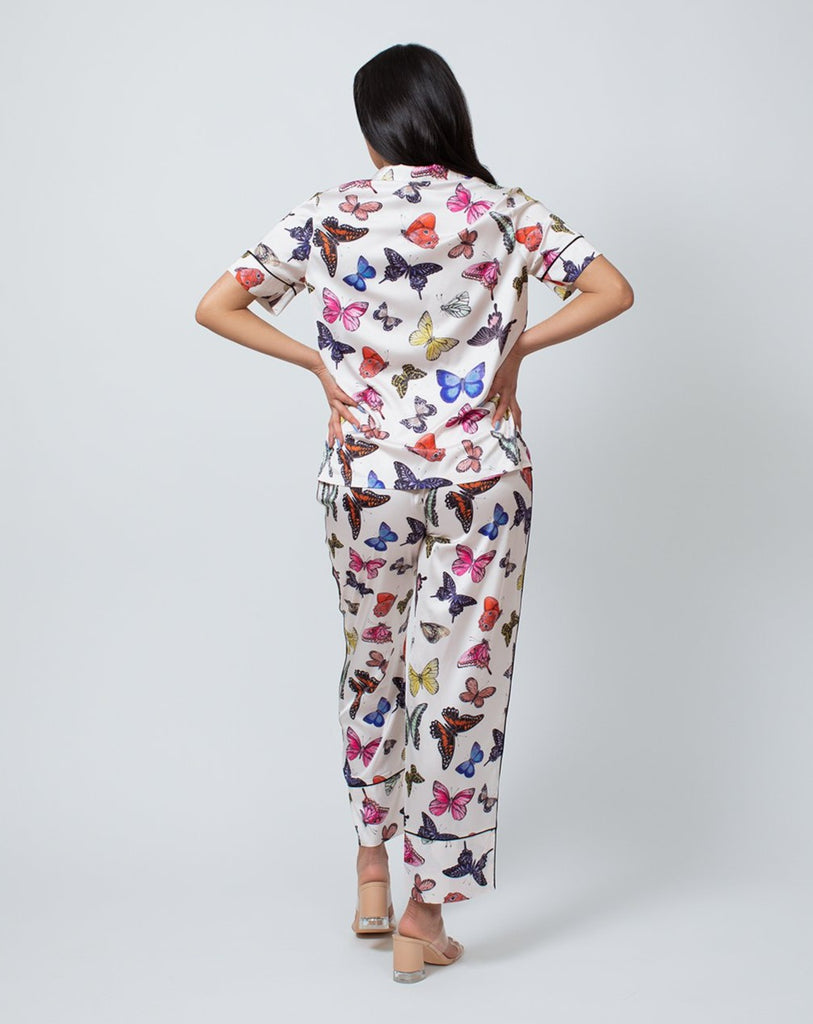 SATIN SHORT SLEEVE & PANT PAJAMA SET