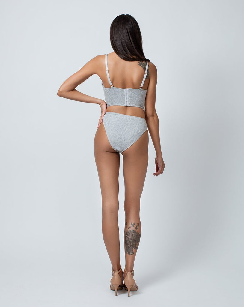 HIGH LEG BRIEF-HEATHER GREY