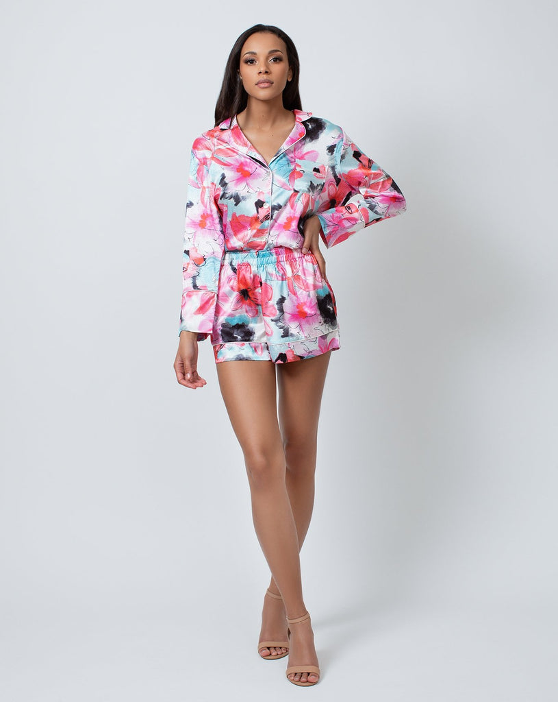 WOMAN IN FLORAL PRINT PAJAMA