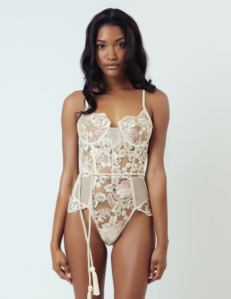 EMBROIDERED UNDERWIRE BODYSUIT
