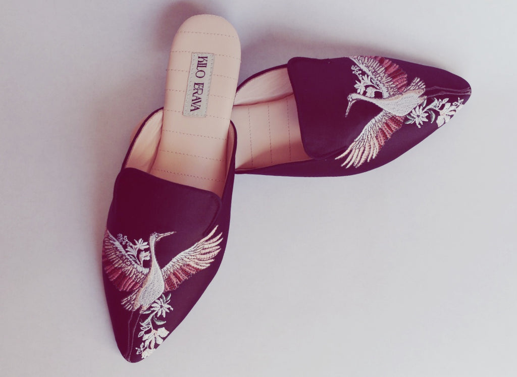 CRANE EMBROIDERED SATIN MULE