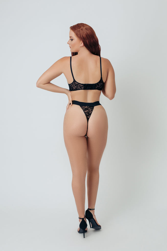 FLOCKED MESH HIGH LEG THONG