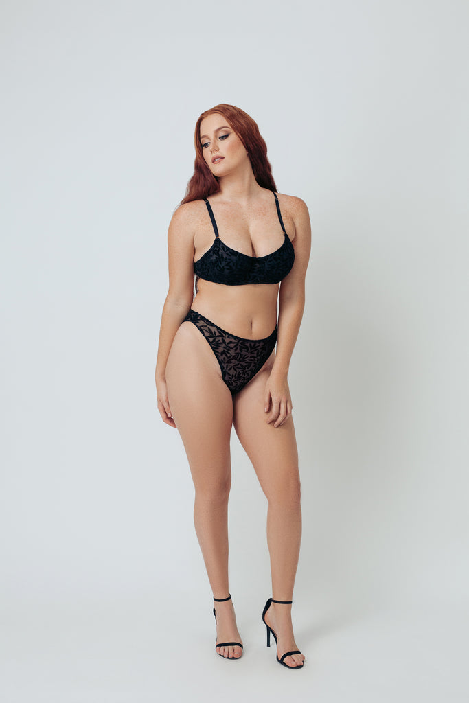 FLOCKED MESH HIGH LEG BRIEF