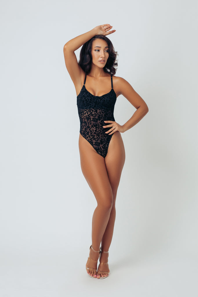 FLOCKED MESH UNDERWIRE BODYSUIT