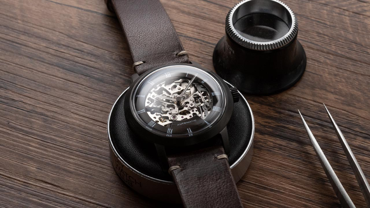 DIY Watch Club Black Skeleton Watch with MIyota 8N24 & EONIQ Vintage strap