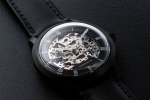 DIY Watch Club - Black Skeleton set with MIyota 8N24 and black classic strap