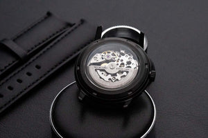 LIMITED - DIY Watchmaking Kit | Black Mosel Lite - Brunette Skeleton vintage dress watch w/ Miyota 8N24