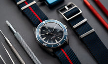 Load image into Gallery viewer, DIY Watch Club Classic NATO Strap - Navy x Black with Red centerline