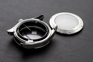 Explorer style Seiko mod case pack with movement holder, chapter ring, stem, crown and exhibition case back
