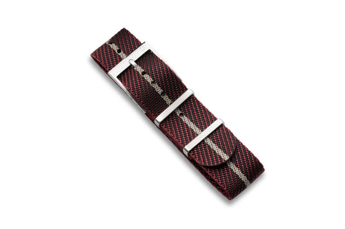 DIY Watch Club Classic NATO Strap - Wine Red x Black with Khaki centerline