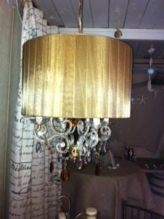 Chandelier Venetian Amber & Ribbon Beaded Swag