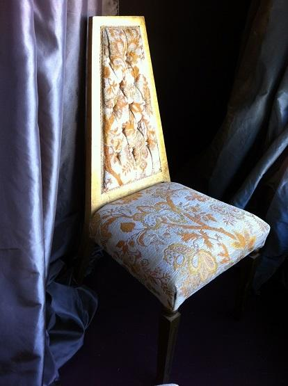 X Chair Lyon Side Chair Gold Damask& Brushed Gold