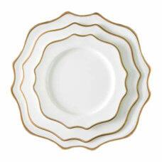 China Savoy White Scalloped Gold Rim S/D Plate