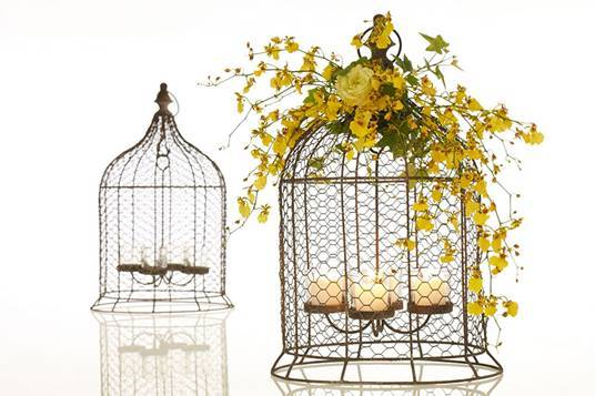 Bird Cage With Candleholder Rustic Mesh