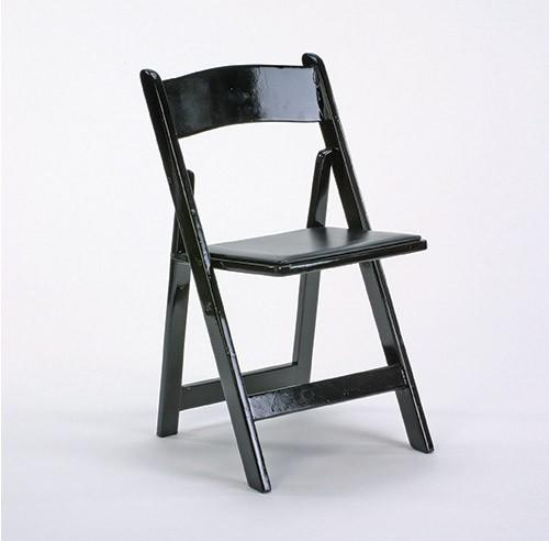 Chair Black Wooden Folding W/ Black Pad