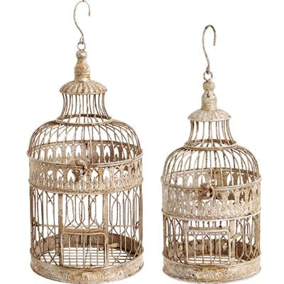 Bird Cage Rustic Ivory Distress 10