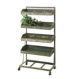 Shelf Shabby Chic Garden Shelf Distres Green 3 Tie