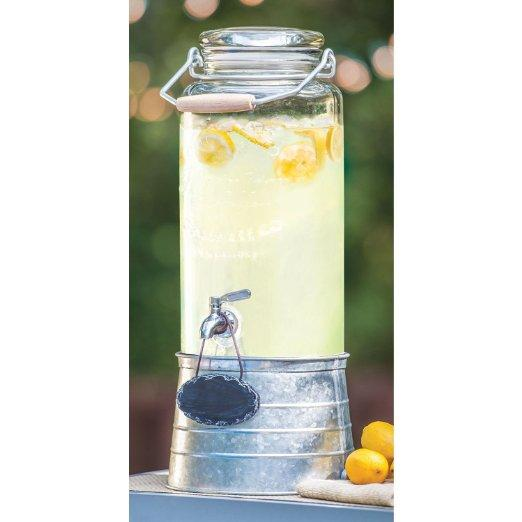 Beverage Dispenser Farm Glass W/ Galvanized Stand