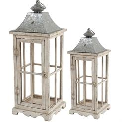 Lantern Cape Cod Beach Wood & Galvanized Steel 18