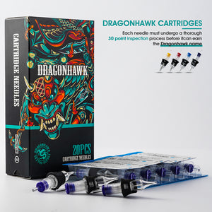 Dragonhawk Tattoo Finger Ledge Cartridges Needles 0.30mm Round Liner Box of 20