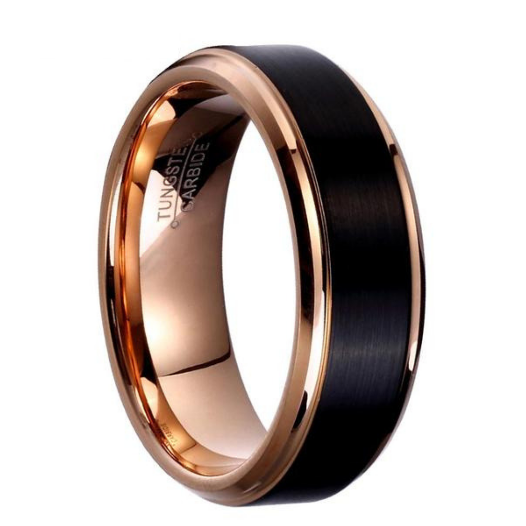 Tungsten Promises Ring For Men Rose Gold W Black Brushed Surface