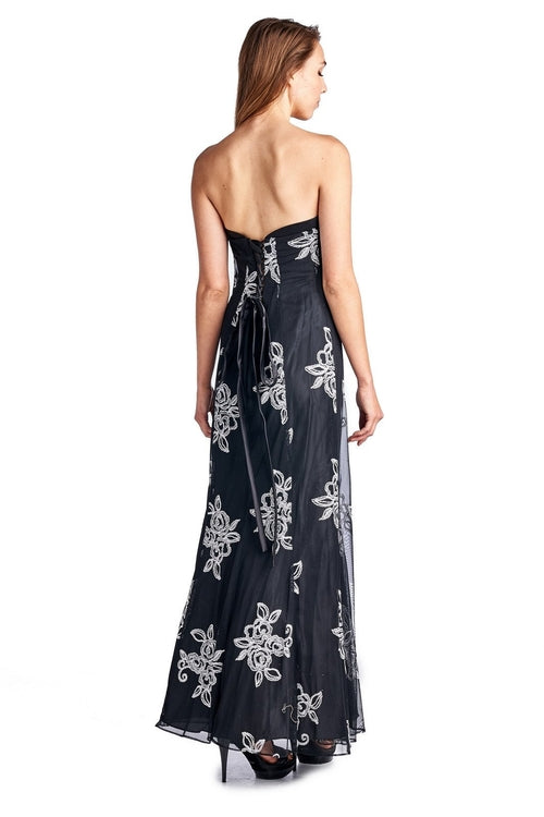 Women's Embroidered Mesh Trumpet Gown with Lace up