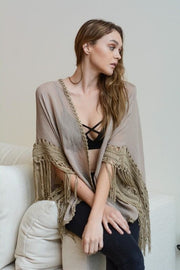 Mocha Cotton Medallion Kimono with Armholes