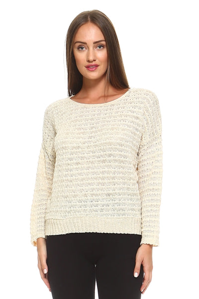 Women's Light Knit Sweater Top With Woven Detail