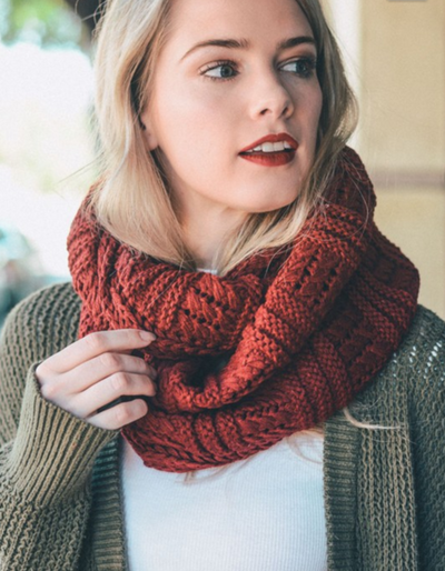 Red Ribbed Knit Infinity Scarf
