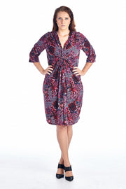 Women's Plus Size 3/4 Sleeve V-Neck Floral Pattern