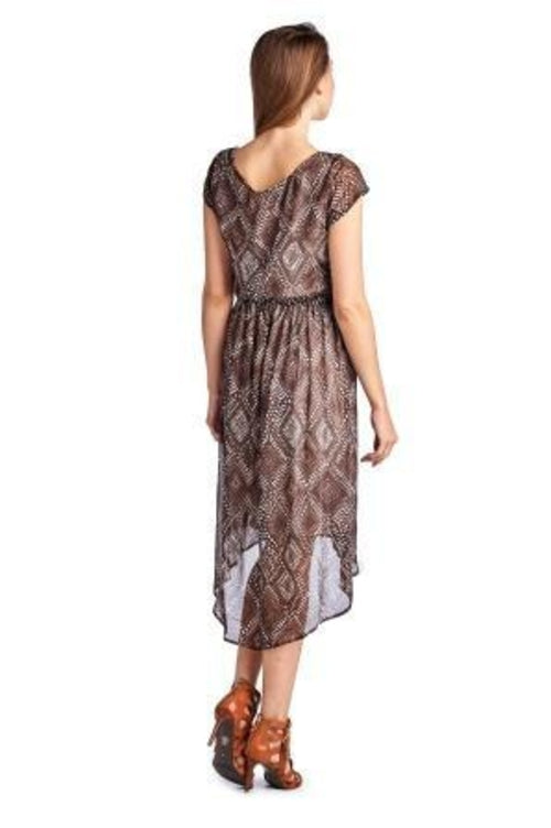 Women's Printed Chiffon High Low Dress