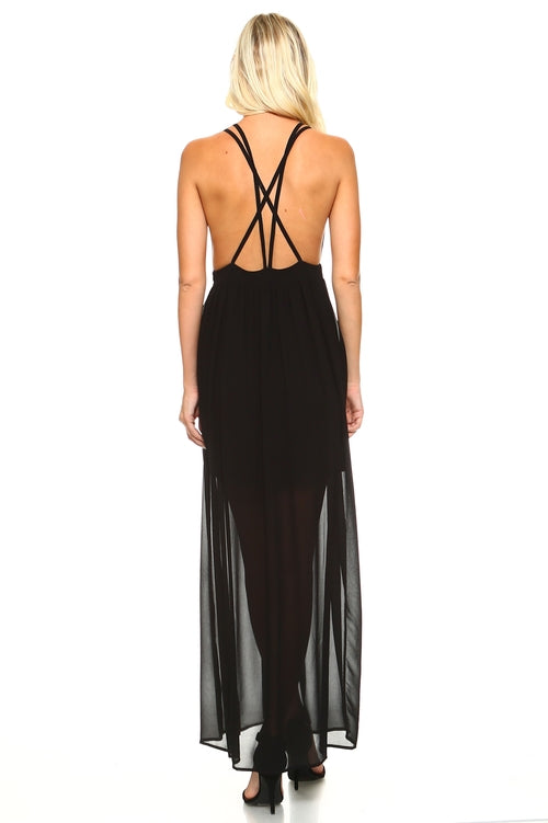 Women's Black Sheer Maxi Dress with Deep V-Neck