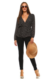 Women's Printed Criss Cross Tie Blouse