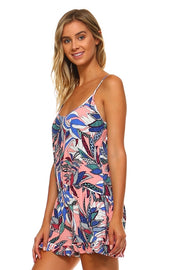 Women's Multi Colored Open Back Tank Romper