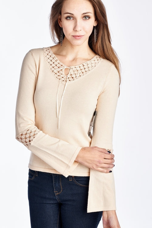 Women's Long Sleeve Crochet Neck and Sleeve Top