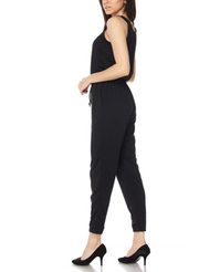Sexy Comfy Black Drawstring Jumpsuit
