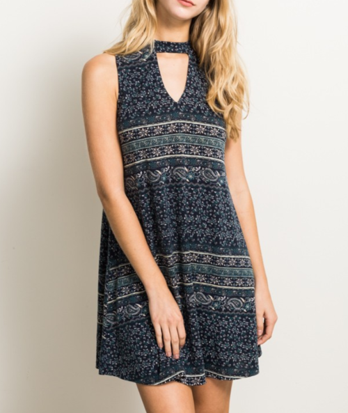 Dane - Boho Navy Blend Keyhole Dress