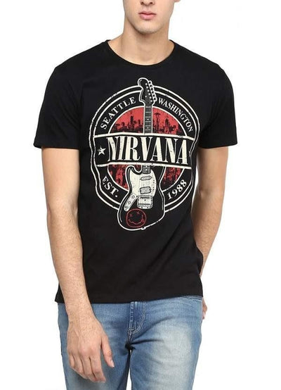 Nirvana Solace Black Half Sleeve Men T-Shirt