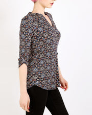 Navy Mixed Print Blouse