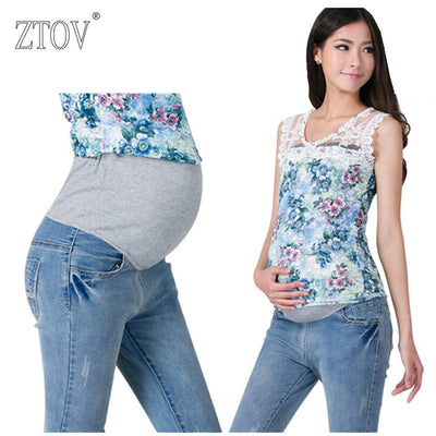 ZTOV Denim Maternity Jeans Plus size Elastic waist Long Trousers pants for Pregnant women Pregnancy clothes Pregnant Pants 8148#
