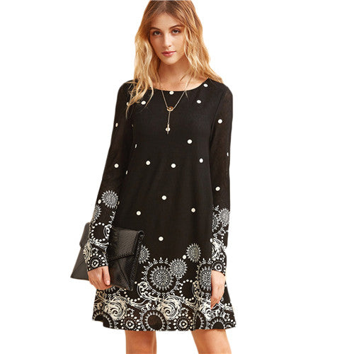 SHEIN Women Dresses Boho Dresses Clothes Elegant Long Sleeve Dress Vintage Black Retro Circle Tunic Casual Dress