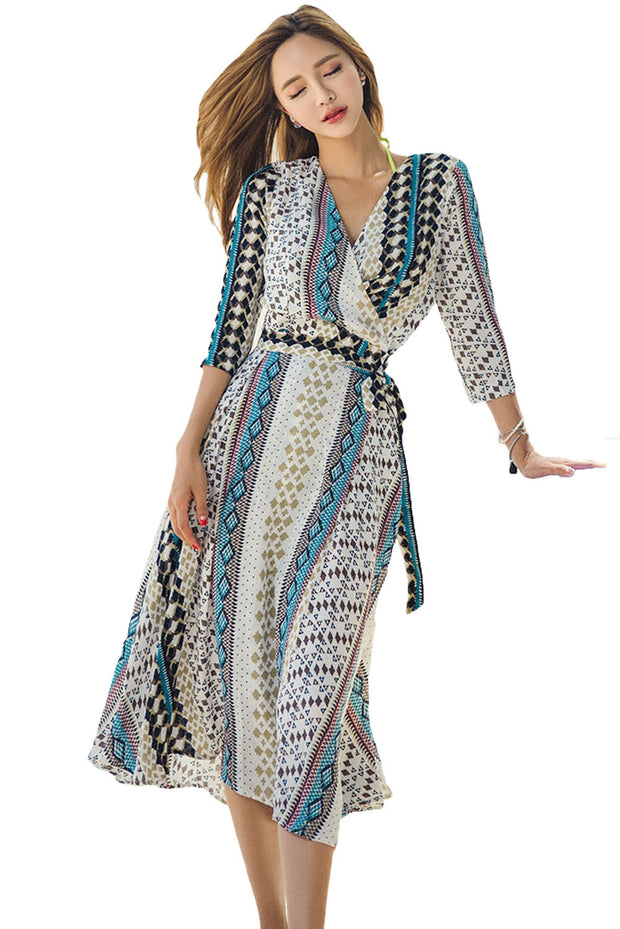Dresses for Women - Aztec Print Open Front Long Cover Up
