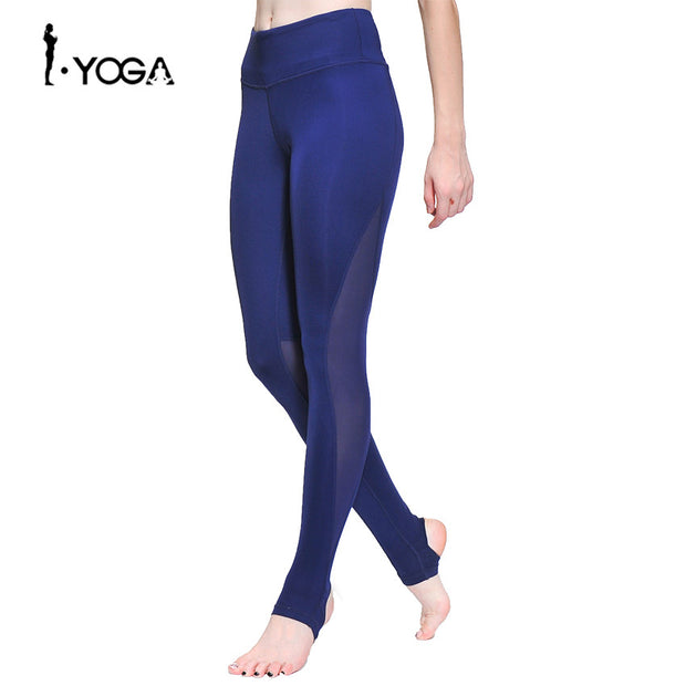 Fitness Women Sport Pants Training Athletic Sportswear Trousers Yoga Mesh Leggings Workout Gym Running Tights with Foot  K0009