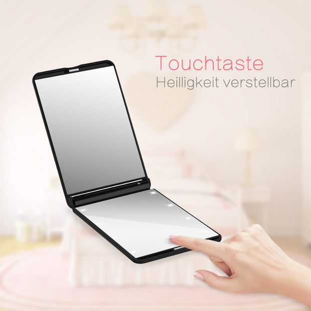 Collapsible LED Lighted Makeup Mirror Portable Compact 8-LED Cosmetic Folding Lights Mirrors