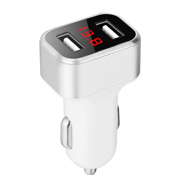 Powstro 5V 3.1A Dual USB Car Charger Digital Display Voltage Current Mobile Charger Adapter DC 12-24V for Phone Tablets Camera