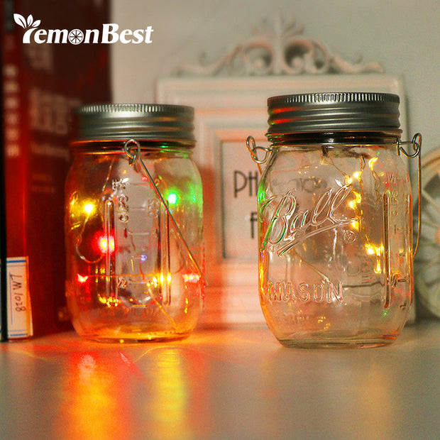RGB 10-LED Glass Bottle Light Solar Waterproof Jar Lamp with Handle Outdoor Lighting for Party Christmas Wedding Decoration
